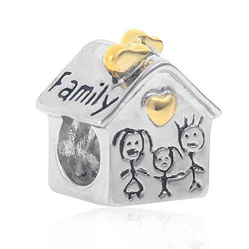 """Charm in argento sterling massiccio 925 a forma di casetta con scritta in lingua inglese """"love family"""" e cuore dorato"""