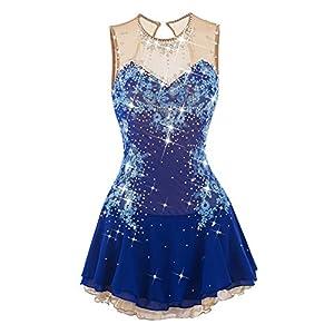 Eiskunstlauf Kleid für Mädchen, Handarbeit Rollschuhkleid Wettbewerb Kostüm für Frauen Ärmellos Eislaufen Kleider Strass Applikationen Blau