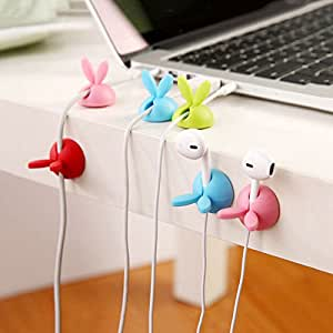 Chinatera 3Pcs Rabbit Cable Clip Desk Tidy Organiser USB Wire Cord Lead Holder (Color random)
