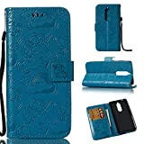 RZL Zubehör und Hüllen für Nokia 7 Case gedrückt Horse Cloud Horizontal Flip Leder Wallet Pouch Case mit Kartensteckplätzen & Lanyard (Color : Blue)
