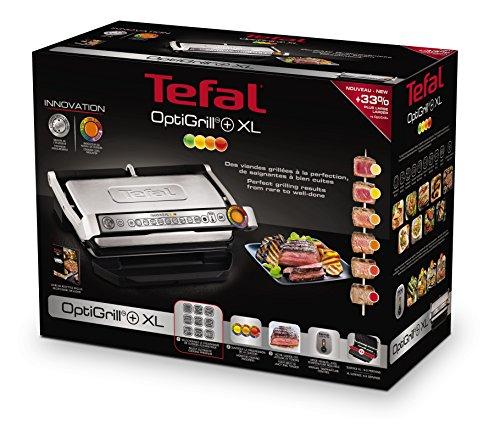 Tefal OptiGrill XL GC722D Kontaktgrill (mit XL-Grillfläche, Plus-Modell mit zusätzlichen Temperaturstufen, 2.000 Watt, automatische Anzeige des Garzustands, 9 voreingestellte Programme) schwarz/silber - 6