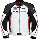 FLM Motorradjacke Motorradkombijacke Sports Leder Kombijacke gelocht 1.0 weiß/rot 54