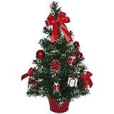 matches21 Kleiner Weihnachtsbaum mit Lichterkette & Deko Tannenbaum 50 cm LEDs warmweiß beleuchtet & rot geschmückt / fertig dekoriert Weihnachtsbäumchen batteriebetrieben