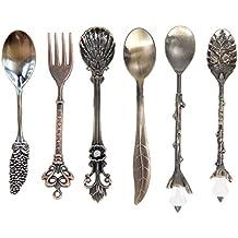Everpert - Cucharillas de café y tenedor en miniatura de metal tallado en estilo vintage