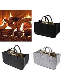 Felt Firewood Bag Newspaper Handbag Shopping Hand Bag (Dark Grey)