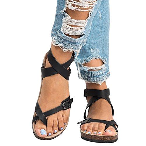 Minetom sandali donna bassi eleganti estivi sandali tacco basso infradito donna eleganti sandali scarpe peep-toe - donna bohemia sandali in pelle scarpe a nero eu 40