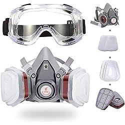 Respirador, Kit de Máscara de Gas, Media Máscara con Gafas de Seguridad Protección Respiratoria Profesional Reutilizable para Proyectos de Pintura, Químicos, Soldadura Y Bricolaje (Gris)