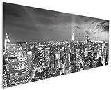 Wallario Küchen-Rückwand | Glas mit Motiv New York bei Nacht - Panoramablick über die Stadt - schwarzweiß in Premium-Qualität: Brillante Farben, ohne Aufhängung | geeignet zum Verkleben |Spritzschutz Küche Herd Spüle | abwischbar | pflegeleicht