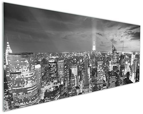 Wallario Küchenrückwand aus Glas, in Premium Qualität, Motiv: New York bei Nacht - Panoramablick über die Stadt - schwarzweiß | Spritzschutz | abwischbar | pflegeleicht