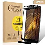 XvDsu Verre Trempé Xiaomi Pocophone F1,[2 pcs] [Colle complète] [Couverture complète] 9H Dureté Smartphone Protection écran Téléphone Mobile Film de Protection Verre Protecteurs d'écran Noir