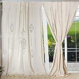Der Vorhang aus Baumwolle und Leinen im Country-Stil mit dem bestickten Stoffbahn von Aytai, Beige, beige, L: 260cm x 180 cm /103