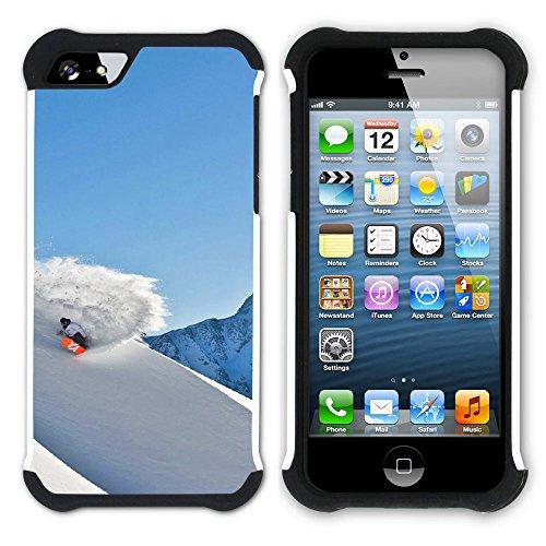 Graphic4You Snowboard Wintersport Schnee Berg Hart + Weiche Kratzfeste Hülle Case Schale Tasche Schutzhülle für Apple iPhone SE / 5 / 5S Design #13