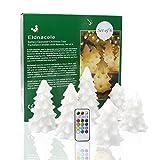 Decorazioni di Natale, multi colore albero di Natale (candele LED a batteria con telecomando e timer), cambiare colore set di 6candele senza fiamma a forma di albero di Natale bianco
