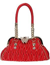 Bonjanvye Butterfly Fur Rhinestones Shoulder Bag for Women Handbags and Purses Purple