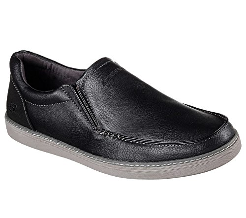 SKECHERS Men's Helmer - Edmon Black Casual Shoes With Stitching And Overlay...
