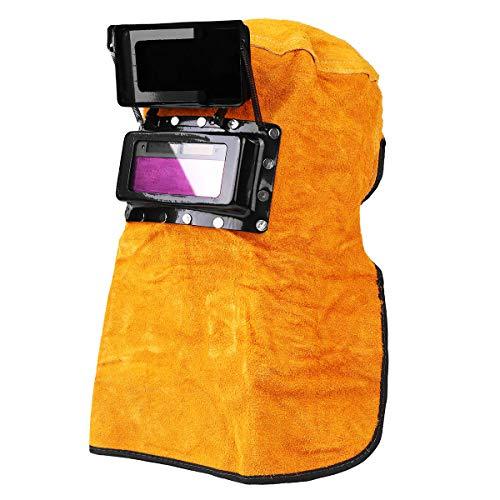 COD Schweißmaske mit Sonnenschutz, automatischer Verdunkelung, Leder, mit Kapuze