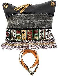 Damen Handtasche Tasche Ethno-Style Vintage Canvas Shopper Schultertasche