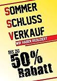 Poster Plakat - SSV bis zu 50% Rabatt - Gelb DIN A1 2Stk. im Kundenstopper Sparset