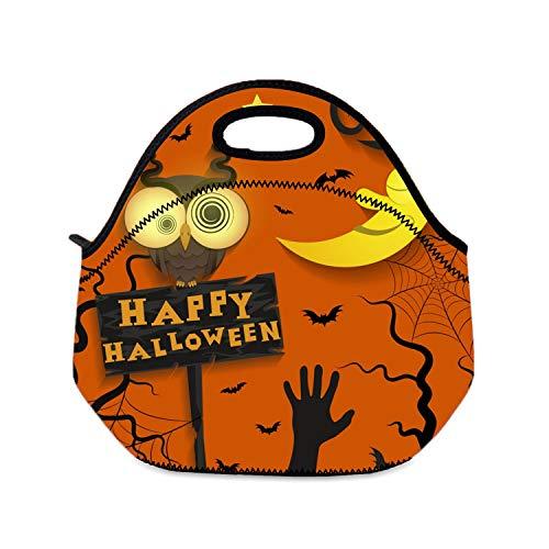 Picknicktasche Lunchbox für Mädchen, Halloween, Urlaub, verrückte Eule, Frauen, Lunchtasche für Camping, Reisen
