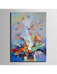 Reloj De Pared Lienzo Pintura Relojes Gráficos De Color Abstracto Decoración De La Pared Dibujar Sin