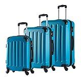 Woltu RK4204ts Set di Valigia Duro per Viaggio Bagaglio a Mano con Lucchetto Combinazione 4 Ruote Girevoli in ABS M/L/XL Azzurro 3 Pezzi