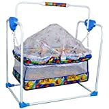 Cradle For Baby With Mosquito Net & Swing Cum Babies Crib Bassinet Jhula (Blue)
