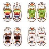 4 Paire Lacets Elastiques No Tie Lacets pour Chaussures Enfants Adultes Pratique Imperméables Silicon Etanche sans Laçage pour Sports Shoes Sneaker Conseil Bottes (Arc-en-ciel + Noir + Blanc + Vert)