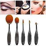 5 Piezas Brochas y Pinceles de Maquillaje Sets Profesional, Cepillo de Dientes Óvalo Fibras Sintéticas Súper Suave para las Cejas, Base de Maquillaje, Polvos, Crema, etc.