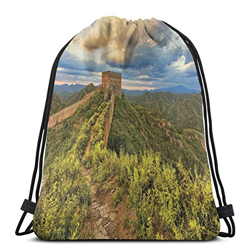 Juziwen Printed Drawstring Backpacks Bags,Exquisite Skyline On Classical Old Castle Wonder of The World Themed,Adjustable String Closure