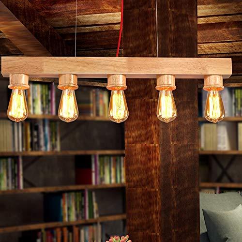 Massivholz-theke (DFEIL 5-lichter Edison Kreative Persönlichkeit Kronleuchter Restaurant Bar Studie Massivholz Decke Pendelleuchte Dekoration Cafe Theke Einfache Hängende Leuchte)