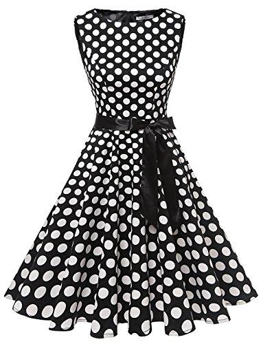 Gardenwed Damen 1950er Vintage Cocktailkleid Rockabilly Retro Schwingen Kleid Faltenrock Black White