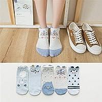 5 pares / porción Corea del estilo de las mujeres del verano Calcetines animal del oso del ratón del gato de dibujos animados de tobillo calcetines calcetines invisibles lindo divertidos calcetines de