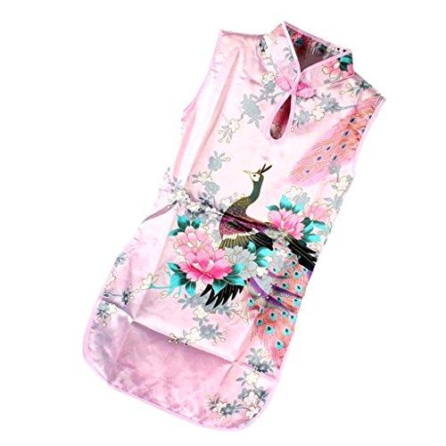 perfk Kleid Mädchen Kinder Kinderkostüm Qipao Cheongsam Geisha Kostüm - Farbe 12, (Geisha Kostüm Kind)