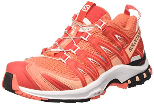 Salomon Damen XA Pro 3D W Traillaufschuhe, Orange (Living Coral/White/Poppy Red), 38 2/3 EU (Trail Ultra 3d Running-schuh)