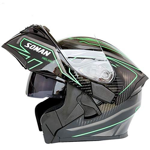 otorrad Bluetooth Helm Motorrad Doppelscheibe Jethelm Integralhelm Motorrad Cruiser Helm,J-L=59~60cm ()