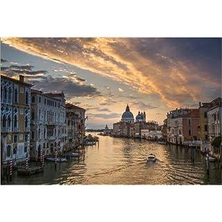 Posterlounge Leinwandbild 180 x 120 cm: Blick auf den Canal Grande in Venedig von Andreas Wonisch - fertiges Wandbild, Bild auf Keilrahmen, Fertigbild auf echter Leinwand, Leinwanddruck