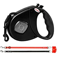 HODGSON Retractable Dog Leash with Two Alternative Bite-proof Front Part Leashes, Heavy-Duty and Fluorescence Design for One or TWO Dogs-L/Black