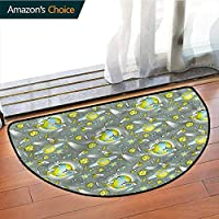 DESPKONMATS Kids Living Room Semi-circular rug, Outer Space Theme Galaxy Art polyester Rug, Phthalate Free, Rugs for Office Stand Up Desk, Half Circle-