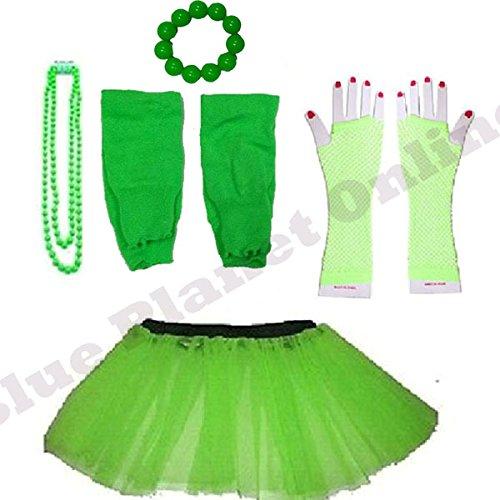 Plus Size 16-24 - Neon Tutu Skirt, Fishnet Gloves, Legwarmers, Bead, Necklace