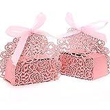 ULTNICE 25 Stück Hochzeit Taufe Gastgeschenk Geschenkbox Kartonage Schachtel Tischdeko Bonboniere Box -Rosa