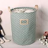 Gugutogo impermeabile pieghevole borsa della lavanderia vestiti sporchi cestino di lino stoccaggio giocattolo collezione grande panno di cotone piegato (colore: verde)