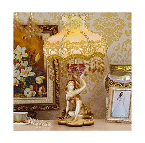 BEI-YI Lámpara de Mesa Dormitorio Europeo Lámpara de cabecera Lámpara de Escritorio Decoración Lámparas de Boda Lámpara de Lectura Creativo Simple Caliente (Color : B, Diseño : Dimming)