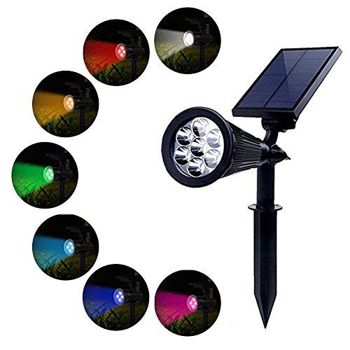 PowerKing Foco Solar Lámpara Exterior Proyector LED Foco Luz 7 Colores Cambia con 2 Modos Bajo Voltaje Seguridad Pared Paisaje IP65 Impermeable Pilas para Jardín,Patio,Césped,Caminos