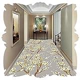Kzf Pflegeleicht weich waschbar strapazierfähiger Läuferteppich Flur Teppichläufer Slipdruck graue Blume kann individuell zugeschnitten Werden,0.8x1m