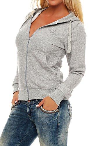 Gennadi Hoppe Sweatshirt Jacke Damen Trainingsjacke (L, Hellgrau) (Kurze Sport-jacke Für Frauen)