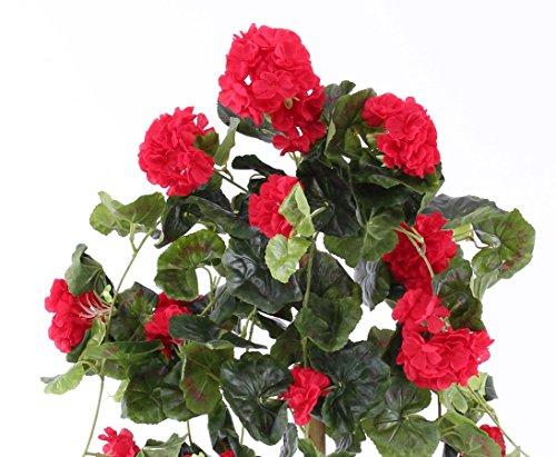 Kunstblume Geranie hängend mit 22 roten Blüten und 128 Blätter, 70cm – Kunstpflanze künstliche Blumen Kunstblumen Blumensträuße künstlich, Seidenblumen oder Blumen aus
