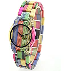 FunkyTop Frauen-hölzerne Uhr 100% handgemachte natürliche bunte Bambusquarz-analoge Uhren