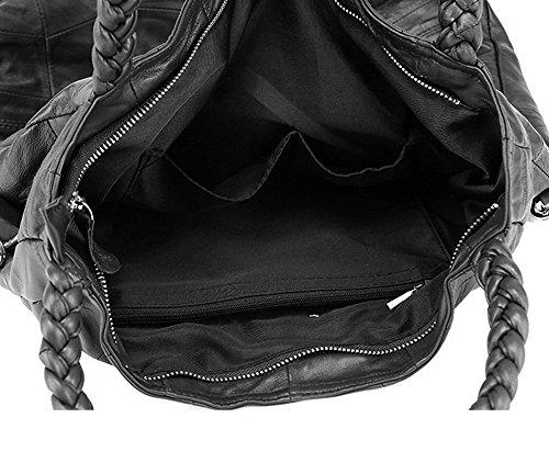 Borsa in vera pelle con tracolla da donna, elegante stile retro, con manici per essere anche trasportata a mano, di Lqt Nero (Black Large)