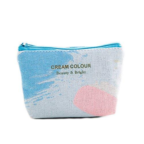 LUFA Sacchetto della borsa della carta di chiave della moneta portatile della ragazza del raccoglitore della chiusura lampo della tela di canapa stampata del cielo rosa rosa blu