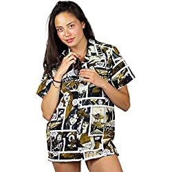 Funky Camisa Hawaiana, Comic, monosepia, XS